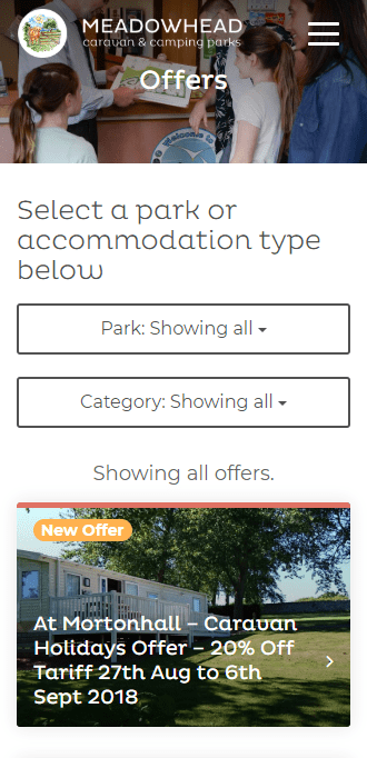 Screenshot of special offers page on a mobile device from the Meadowhead Parks website.