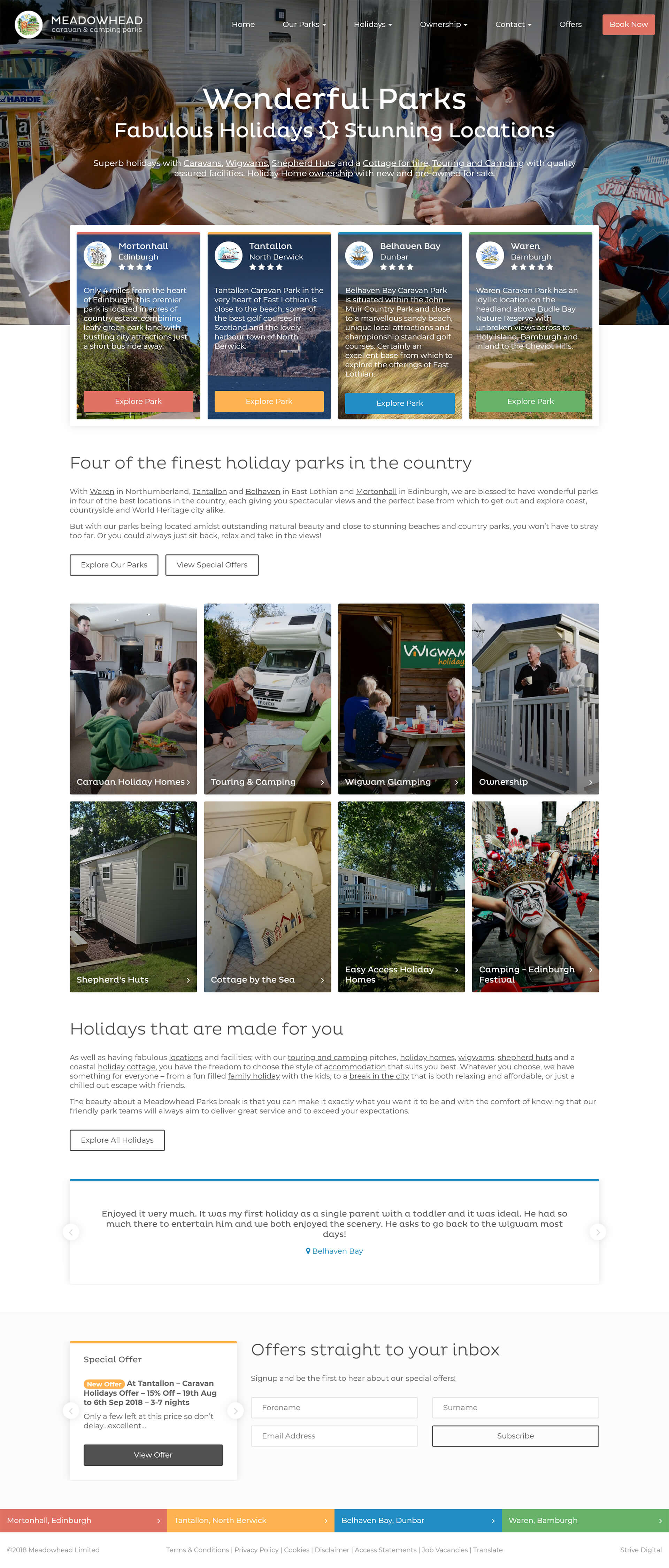 Screenshot of the home page of the Meadowhead Parks website.