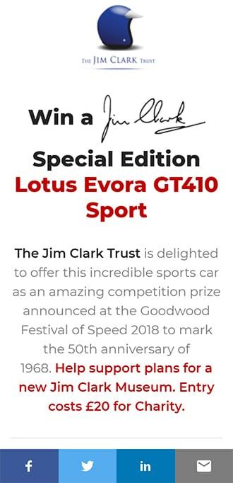 Screenshot of Jim Clark Lotus competition website, showing landing screen on mobile.