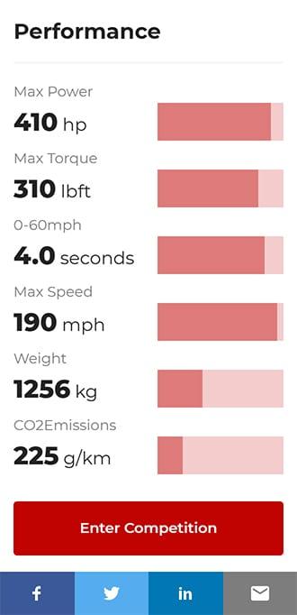 Screenshot of Jim Clark Lotus competition website showing Lotus Evora performance statistics