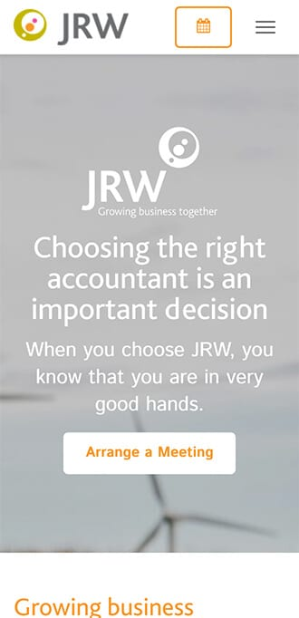 Screenshot of JRW home page on mobile