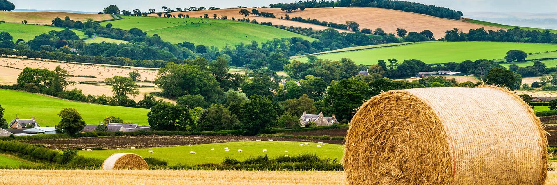 Rolling hills in the Scottish Borders with freshly harvested field and hay bale in the foreground