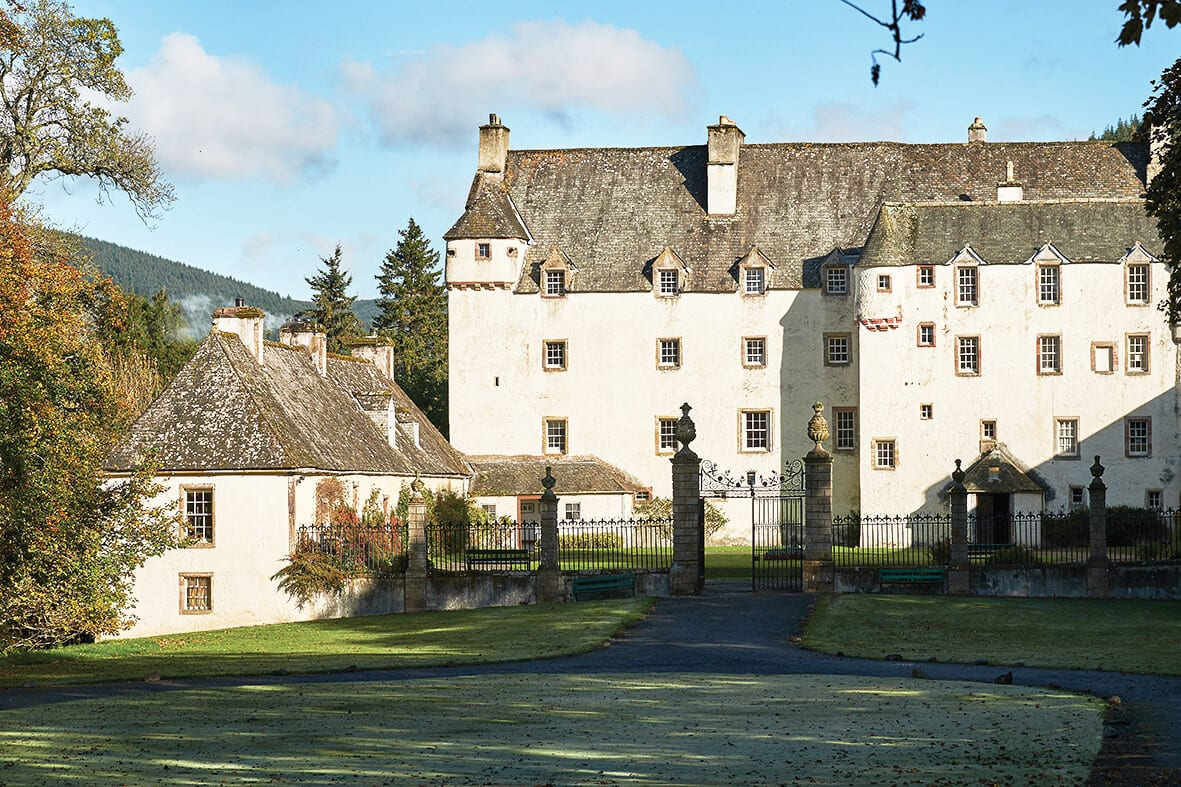 Front view of Traquair House, near Innerleithen, Scottish Borders.
