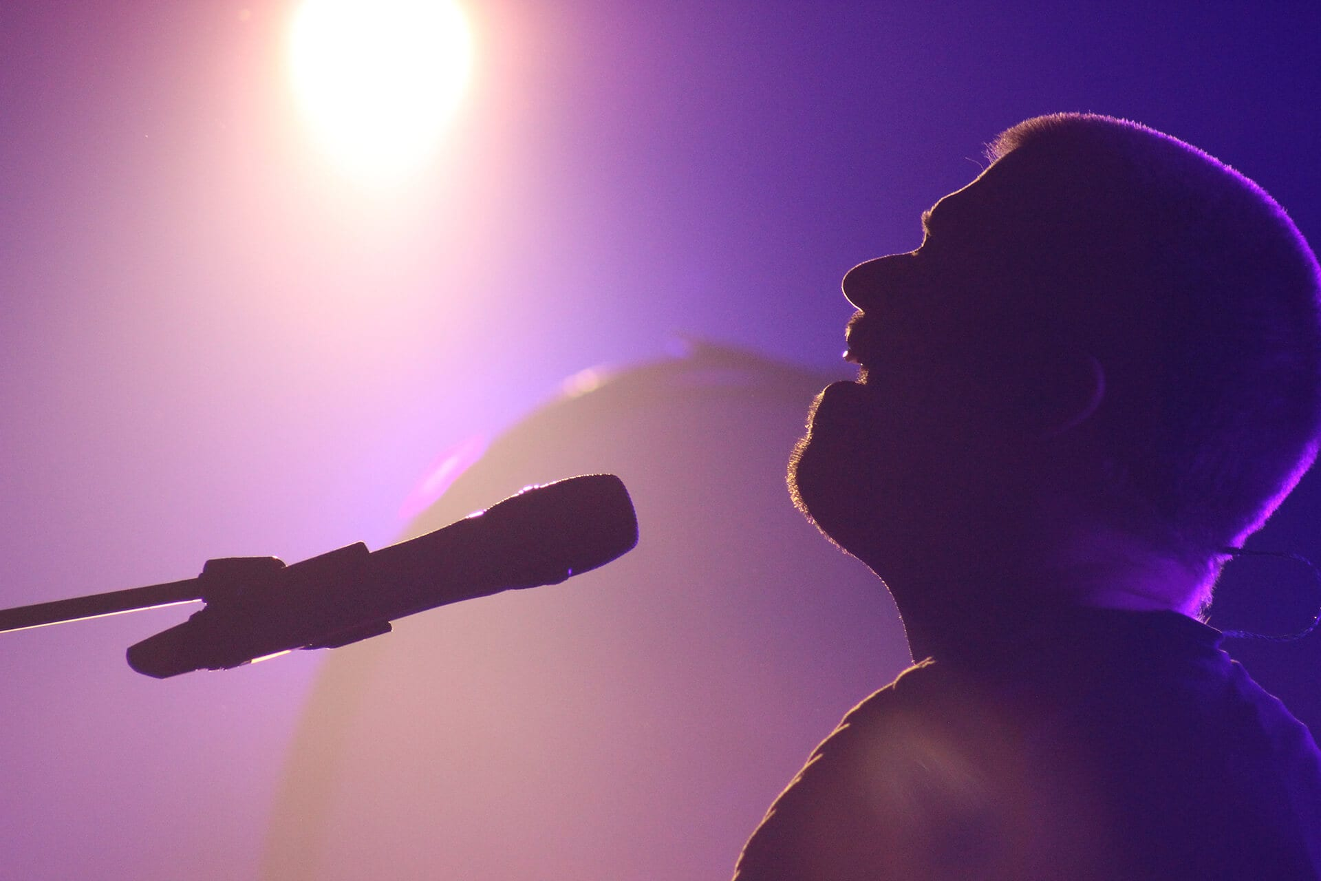Man signing into a microphone under stage lights with a purple hue