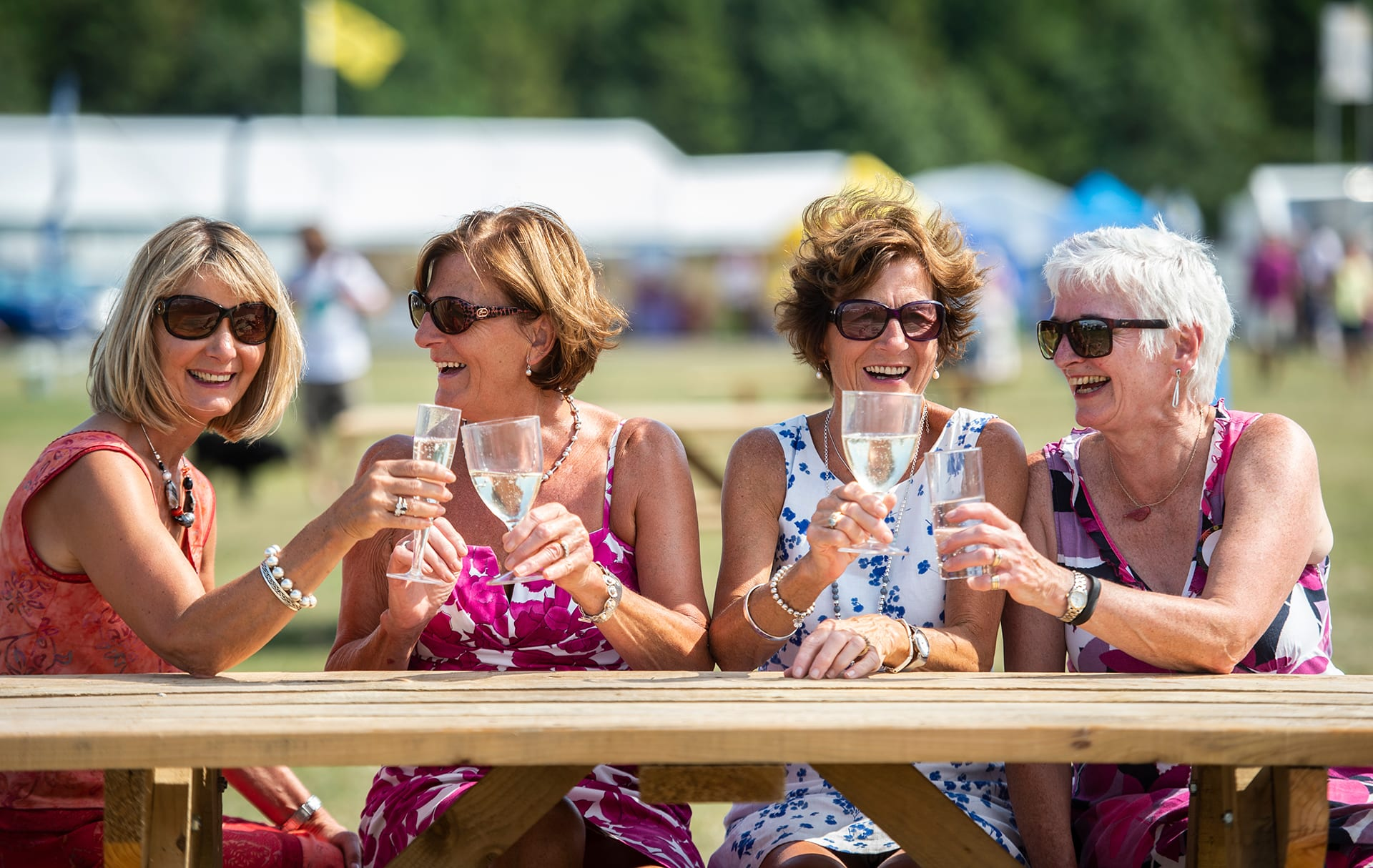 Ladies drinking wine at the Border Union Show